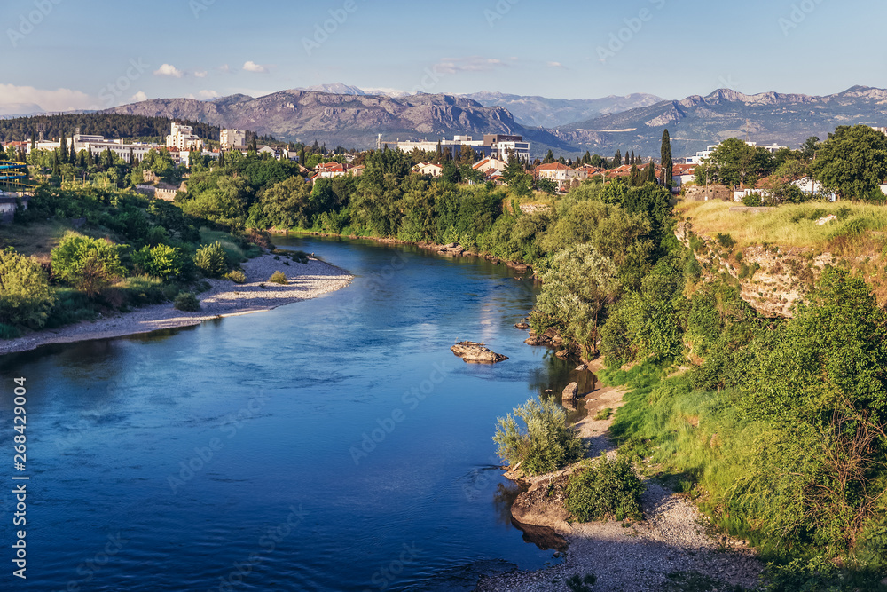 Fototapety, obrazy: View on the river Moraca River in Podgorica city, Montenegro