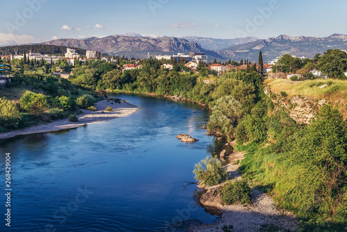 View on the river Moraca River in Podgorica city, Montenegro Fototapete