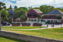 St. Augustine, Florida. March 31 , 2019 . Panoramic View Of Trolley Tour And Old Town From Castillo De San Marcos Fort In Florida's Historic Coast (1)