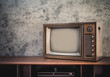 canvas print picture - Old television on table