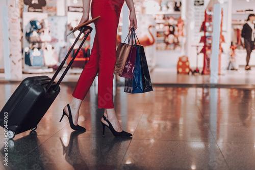 Fotografie, Obraz  Elegant woman is going on trip by plane