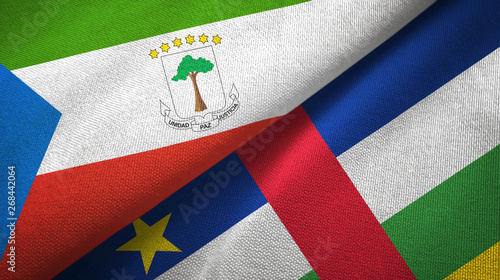 Fotografía  Equatorial Guinea and Central African Republic two flags textile fabric texture