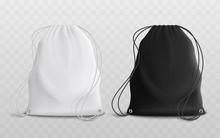 Set Of Blank Drawstring Bags Mockup 3d Realistic Vector Illustration.