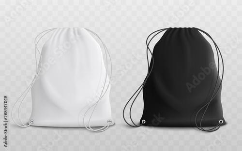 Fotografía  Set of blank drawstring bags mockup 3d realistic vector illustration