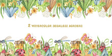 Watercolor Seamless Border With Cute Cartoon Insects And Meadow Flowers. Texture With Butterflies, Ants, Caterpillars For Wallpaper, Fabrics, Textiles, Scrapbooking, Stitches, Children's Clothing, Pac