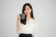 portrait of thai china adult office girl white shirt drinking coffee