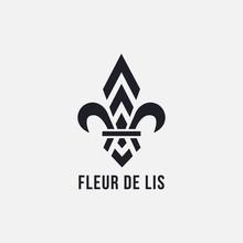Minimalist Fleur De Lis Logo Vector Template On White Background