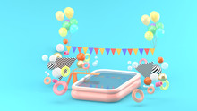 Inflatable Pool Among The Colorful Balls On The Blue Background.-3d Rendering.