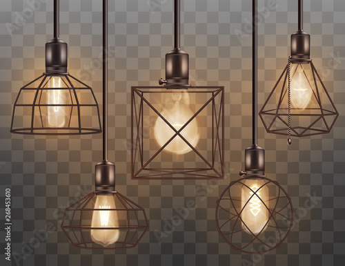 Glass light bulb in wire cage interior set of 3d vectors isolated on transparent Fototapet