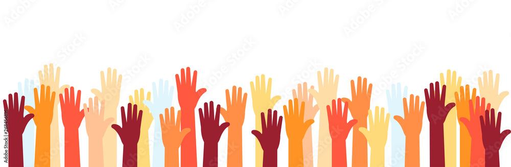 Fototapeta Raised hands of volunteer group, colorful banner