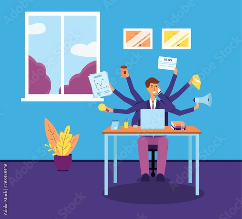 Multitasking business man or manager with several hands flat vector illustration Fototapeta