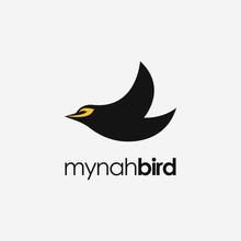 Minimalist Mynah Bird Logo Icon Vector Template On White Background