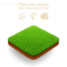 Square Plot Of Land With A Dense Green Grass And A Brown Cut Of Soil. 3d Realistic Vector Piece Of Landscape. Trimmed Lawn Floats Above A White Background. Isometric Natural Location For Any Objects
