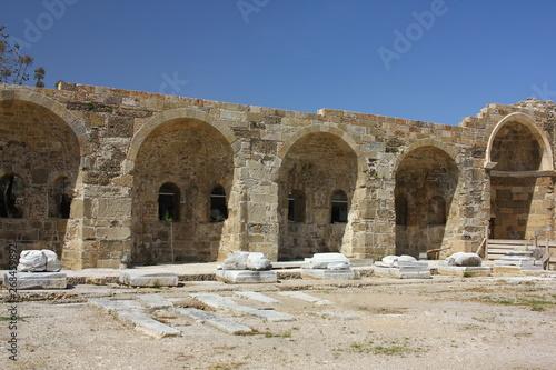 Poster Maroc Ruins of a South Basilica on the Mediterranean seashore. Side, Turkey.