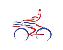 Abstract Patriotic Cyclist Ath...