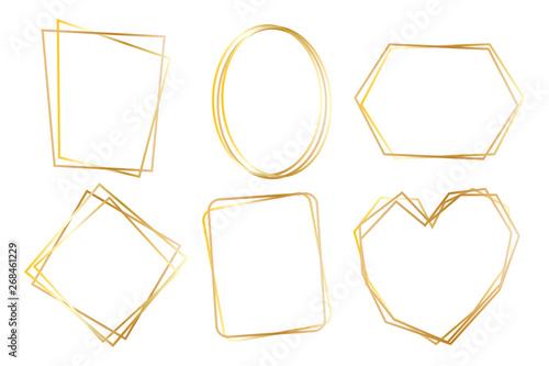 Cuadros en Lienzo  Collection of golden polygonal luxury frames vector set