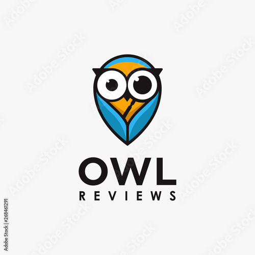 Photo Stands Wisdom bird owl logo with magnifying glass