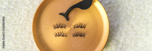 Photo Beauty makeup banner fake eyelashes and magnetic stainless steel applicator for latest trend in false lashes