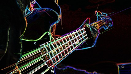 electric guitar . abstract neon painting