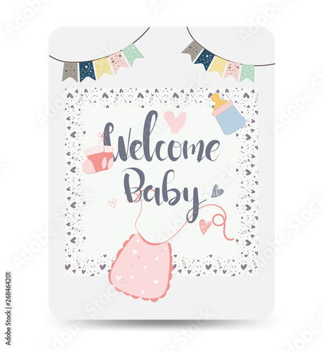 Congratulations New Baby Card Drawn Baby Card Background Message Newborn Gif Baby Photo Props Greeting Card For New Lovely Baby Birthday Buy This Stock Vector And Explore Similar Vectors At Adobe Stock