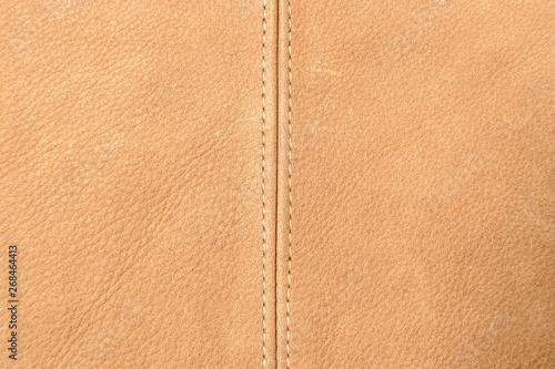 Deurstickers Leder Nahaufnahme von braunem Leder mit breiter Naht