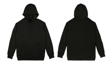 Blank Plain Pullover Hoodie Black Color With Front And Back View Isolated On White Background. Ready For Your Mock Up Design Or Presentation Your Design Project.