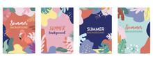 Green Orange Summer Postcard With Flower,tree And Leaf
