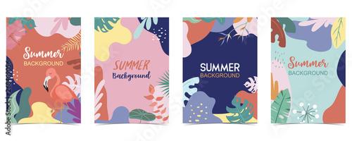 Green orange summer postcard with flower,tree and leaf - 268469056