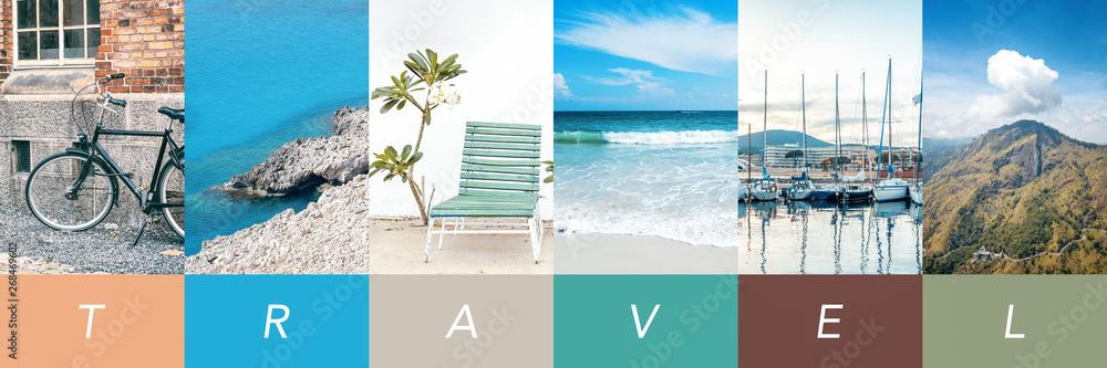 Fototapeta Travel concept background. Summer concept.  Header format with copyspace, vertical stories