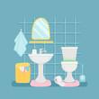 Sanitary room with sink, toilette, towels vector illustration. Interior of bathroom, toilet and bathtub