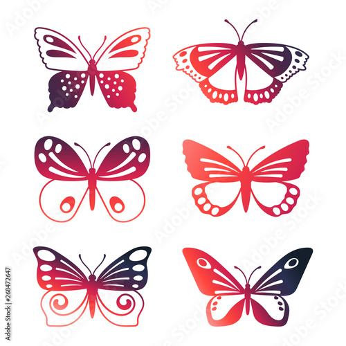 Obraz na plátně  Set of color vector butterflies isolated on white background