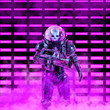 canvas print picture - The neon dark trooper / 3D illustration of science fiction scene with evil skull faced astronaut space soldier holding laser rifle in front of glowing neon lights