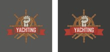 Color Illustration Of A Hand Holding A Rope With A Steering Wheel And A Banner With Text. Sailing Emblem