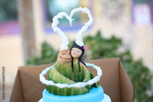 Photo  Pixar's Lava vegan wedding cake