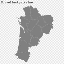 High Quality Map Region Of France