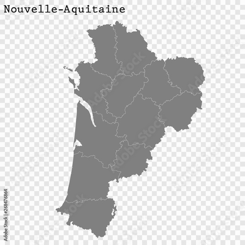 Photo High Quality map region of France