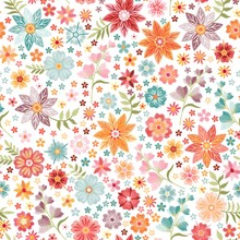Embroidery Seamless Pattern. Beautiful Colorful Flowers On White Background. Summer Fashion Print.