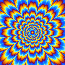 Pulsing Blue Flower. Optical Illusion Of Movement.