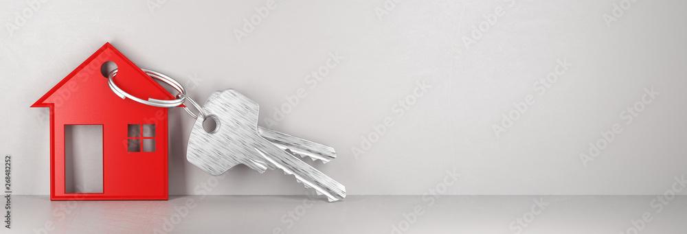 Fototapeta Key house, banner, new home, 3d render illustration
