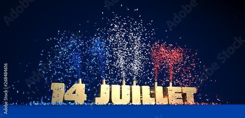 Photo Titre 14 juillet doré sur fond bleu avec confettis