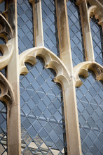 Leaded Windows With Stonework Frames To Historic Ecclesiastical Thirteenth Century Building