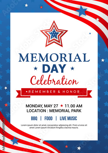Memorial Day poster templates Vector illustration, USA flag with blue star frame. Flyer design Wall mural