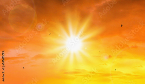 plakat Heat wave of extreme sun and sky background. Hot weather with global warming concept. Temperature of Summer season.