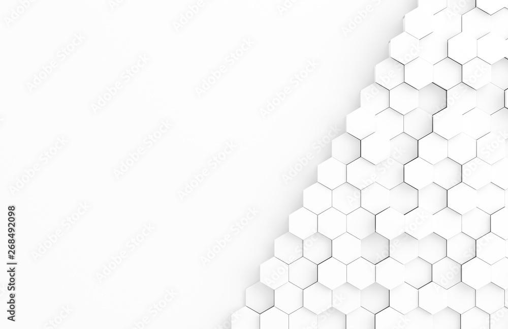 White hexagone background pattern 3D rendering