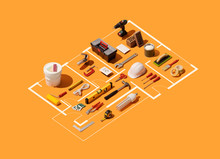 Isometric House Plan Project With Work Tools