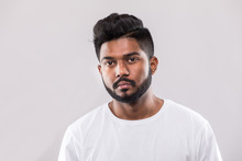 Close Up Portrait Of Happy Young Indian Man Isolated On White Background