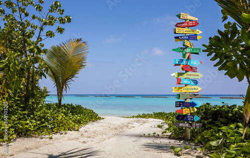 Foto  Different world directions signpost