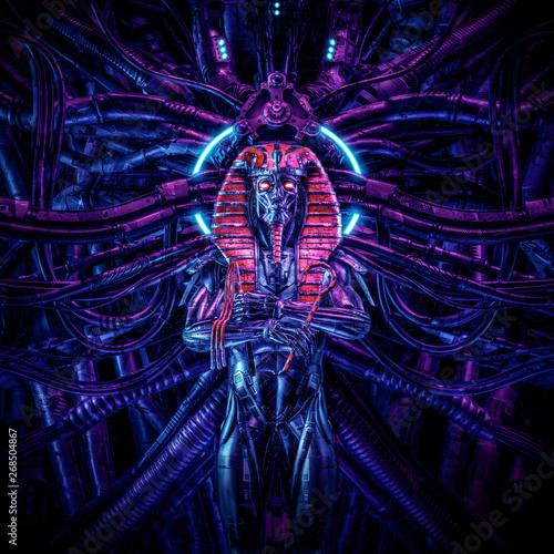 Valokuvatapetti Tomb of the neo pharaoh / 3D illustration of metallic futuristic male Egyptian p