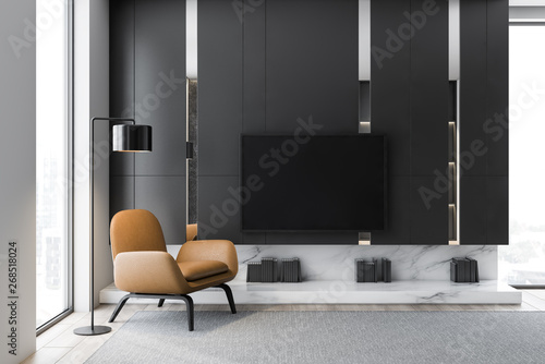 Gray living room interior with TV and armchair - 268518024
