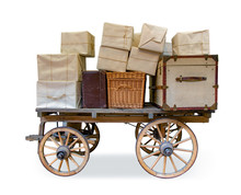 The Historic Postal Carriage Full Of Shipment, Isolated On White Background. Many Cardboards With Suitcase And Chest On Old Mail Cart.